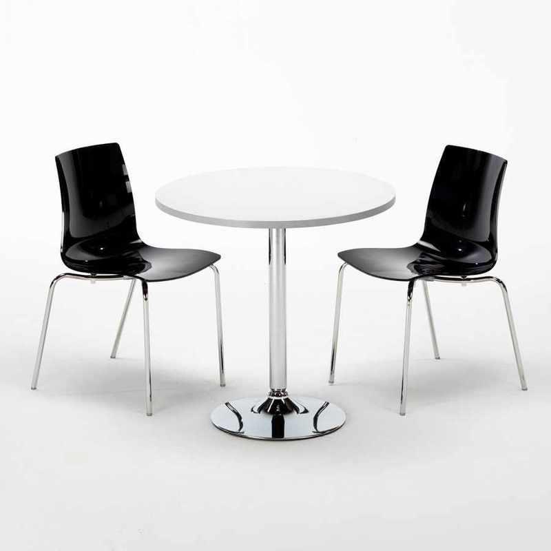 TABLE RONDE BLANCHE 70X70CM AVEC 2 CHAISES COLORÉES ET TRANSPARENTES SET INTÉRIEUR BAR CAFÉ LOLLIPOP SILVER | NOIR - GRAND SOLEIL