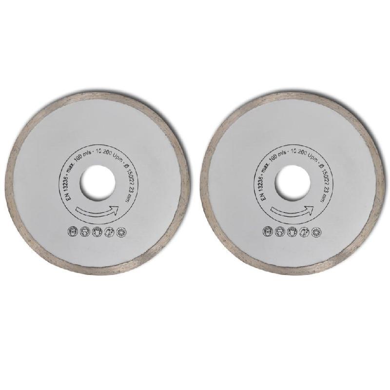 Vidaxl 2 disques diamantés sans fentes pour meuleuse 150 mm