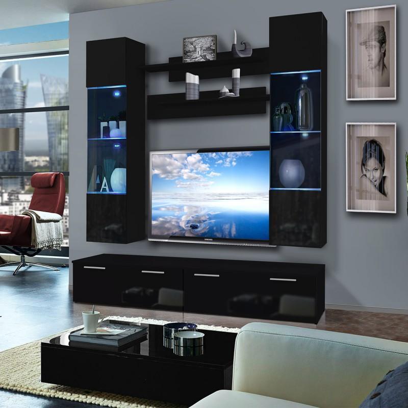 MEUBLE TV MURAL LEDGE VI TWIN 200CM NOIR - PARIS PRIX
