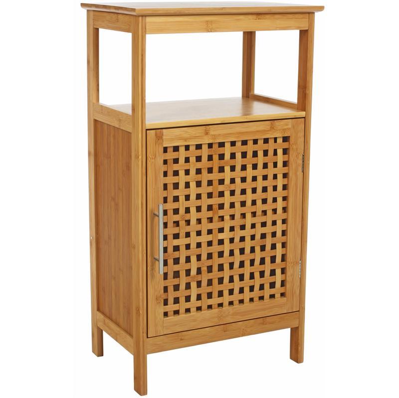Meuble bas de salle de bain 1 porte en bambou h83 x p30 for Meuble bas salle de bain 1 porte