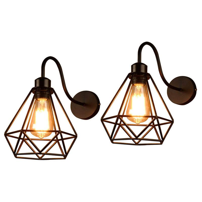 2PCS RETRO APPLIQUE MURALE INDUSTRIELLE E27 LAMPE MURALE CAGE DIAMANT EN METAL NOIR - AXHUP
