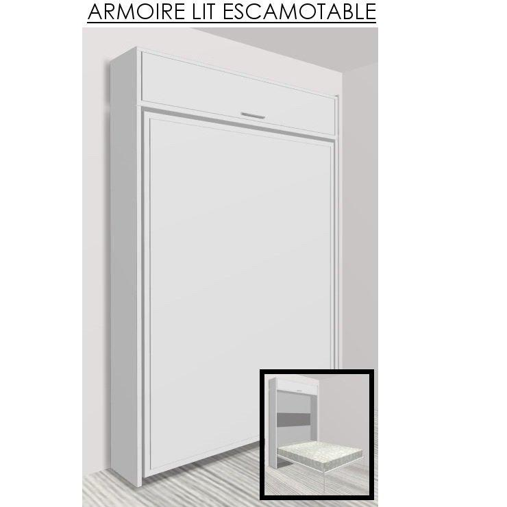 armoire lit escamotable eos blanc mat couchage 140 22. Black Bedroom Furniture Sets. Home Design Ideas