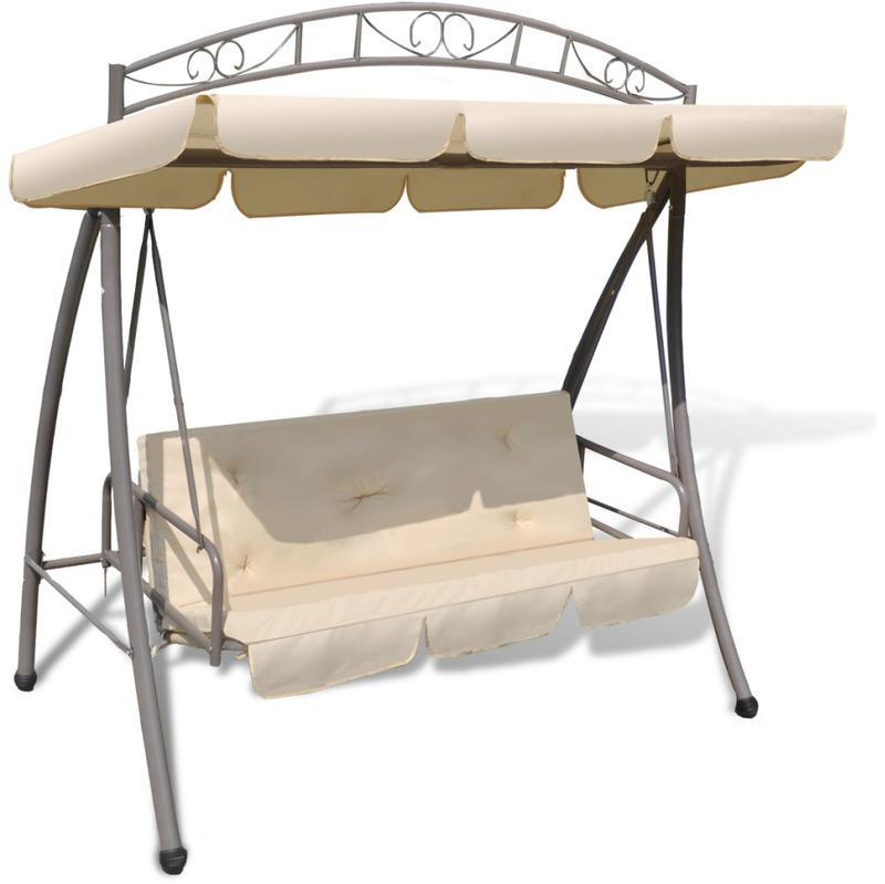 Vidaxl balan oire balancelle transat lit avec auvent blanc for Tissu pour transat exterieur