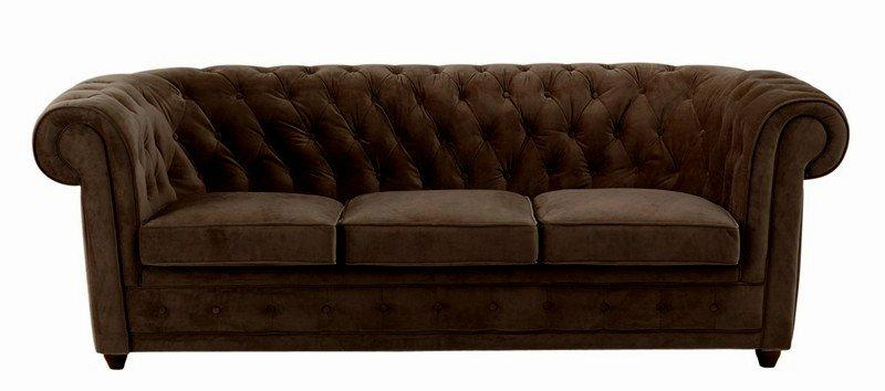 canape chesterfield 3 places velours marron. Black Bedroom Furniture Sets. Home Design Ideas
