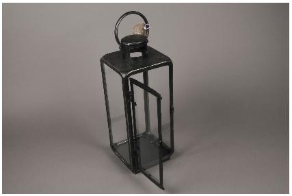 lanterne en metal noir 15cm x 15cm h40cm. Black Bedroom Furniture Sets. Home Design Ideas