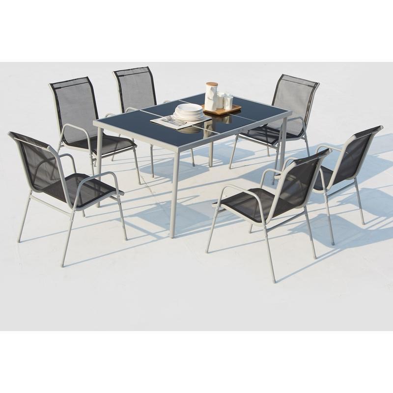 table de jardin 150cm en acier inoxydable avec 6 chaises en acier et textil ne lusiana. Black Bedroom Furniture Sets. Home Design Ideas