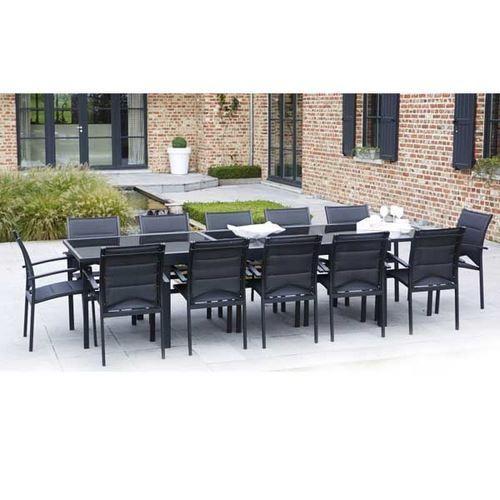 ensemble table et chaises de jardin modulo 12 places noir comparer les prix de ensemble table et. Black Bedroom Furniture Sets. Home Design Ideas
