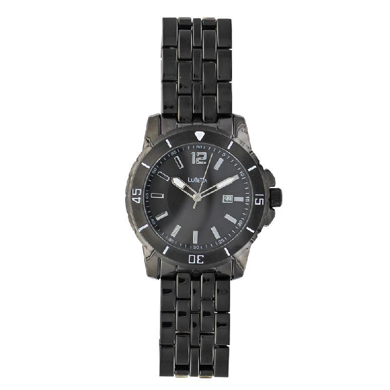 Montre homme lutetia boîtier et bracelet métal noir dato, ø 45 mm
