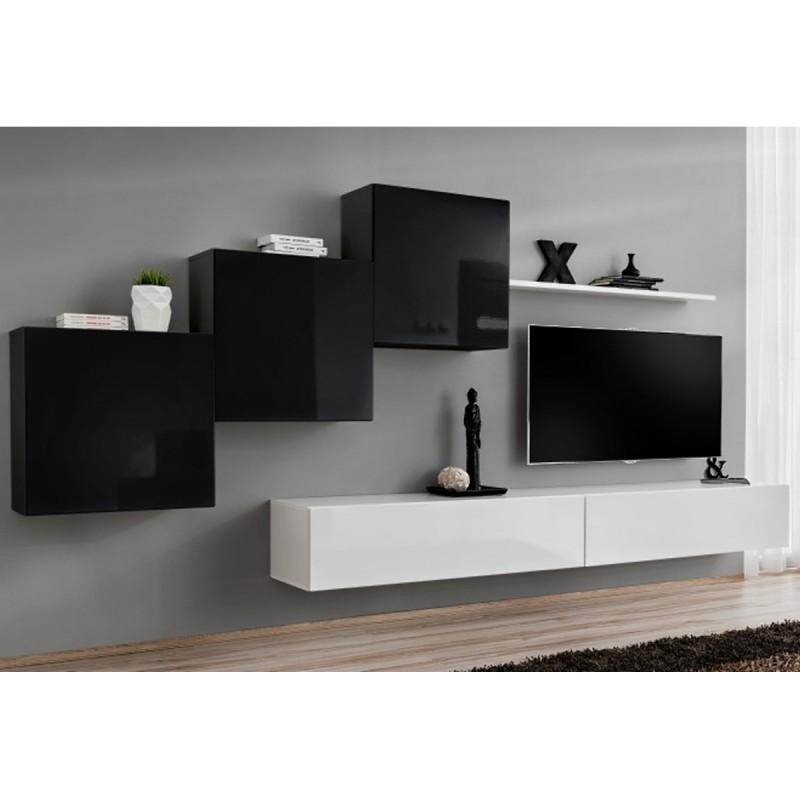Meuble tv mural design switch x 330cm noir & blanc - paris prix