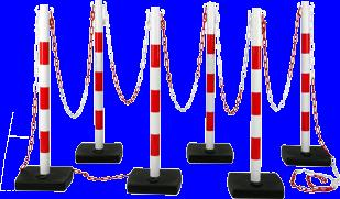 Kit 6 poteaux PVC Rouge/Blanc - 2000901