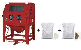 Pack cabine de sablage professionnelle 990 l + 2x 25 kg d'abrasifs sable corindon et perles de verre mw-tools cat990set