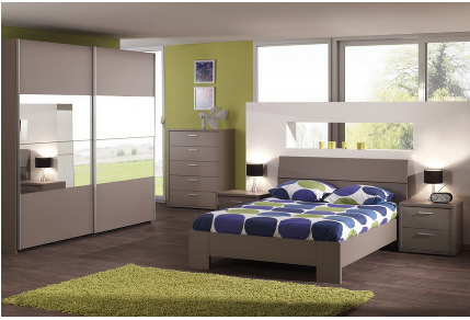 chambre complete adulte design basalte gris. Black Bedroom Furniture Sets. Home Design Ideas