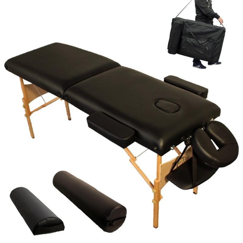 Table de massage pliante 2 zones 7,5 cm épaisseur confort noir 2008003