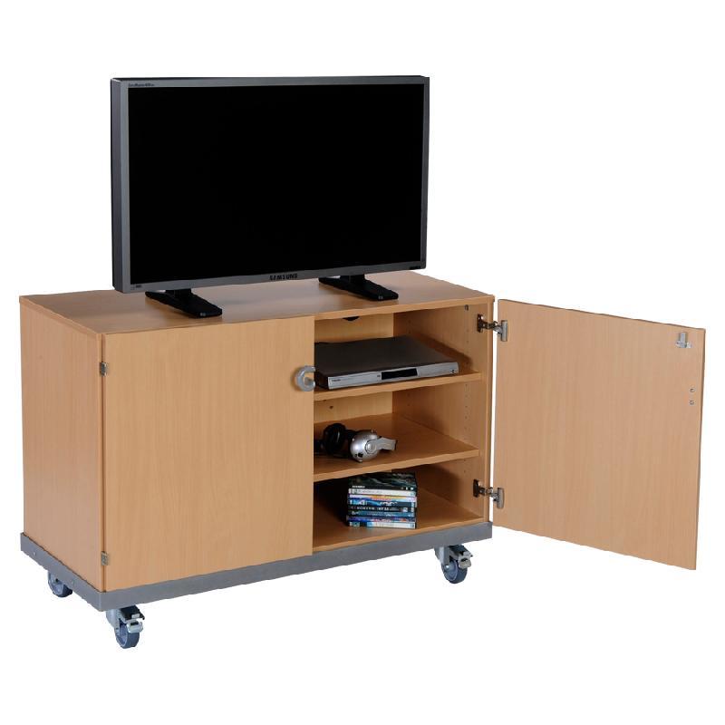 Meuble audiovisuel bas largeur 120 cm 2 portes h tre for Meuble bas 120 cm