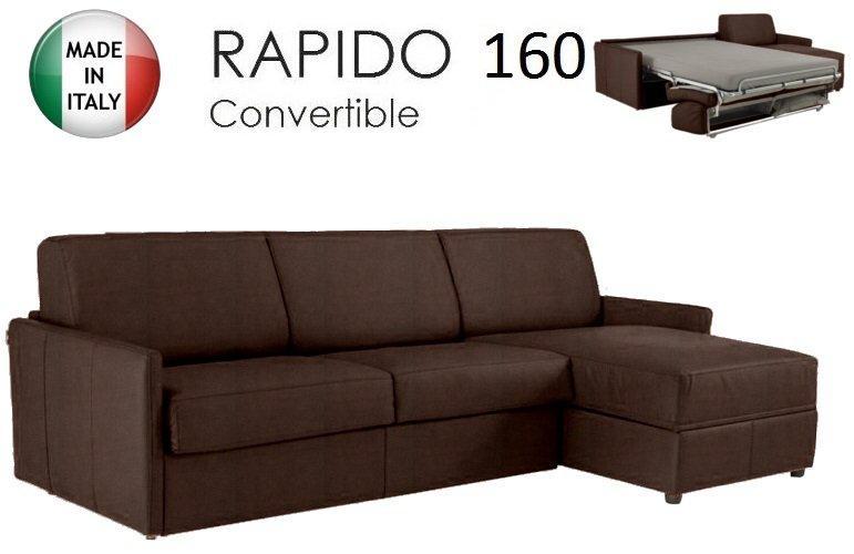 canape d 39 angle sun convertible ouverture rapido 160cm tissu microfibre marron. Black Bedroom Furniture Sets. Home Design Ideas