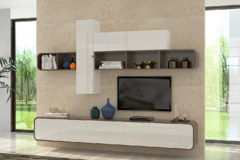 composition tv murale cobra noyer et blanc brillant. Black Bedroom Furniture Sets. Home Design Ideas
