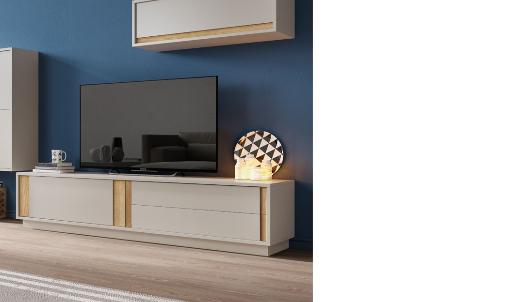 Meuble Tele Design Gris Laque Mat Et Couleur Bois Fonce Zurich