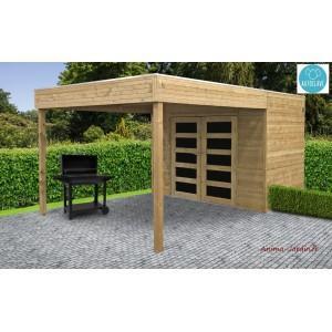 Abri de jardin avec avancée en bois autoclave 19mm - s8733-1 ...