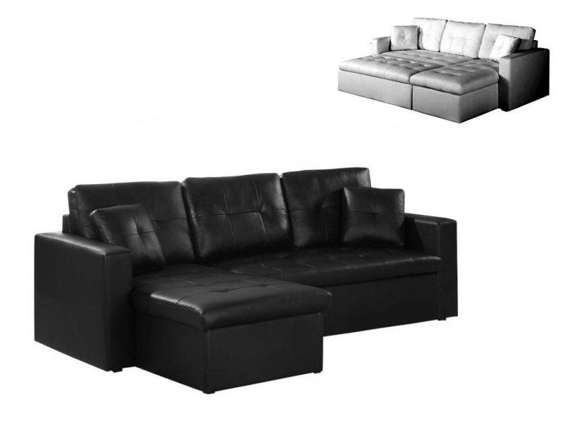 canape lit d 39 angle alabama systeme gigogne meridienne coffre cuir noir. Black Bedroom Furniture Sets. Home Design Ideas
