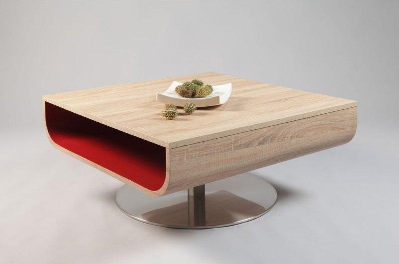 Table Basse Cordelia Chene Blanc De Sonoma Avec Rangement Laque Rouge