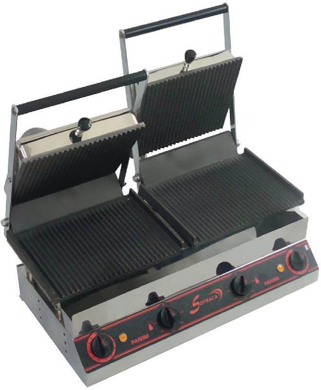 PANINI GRILLS DOUBLE - SPÉCIAL SANDWICH-400V-PLAQ.INF.SUP.RAINURÉES