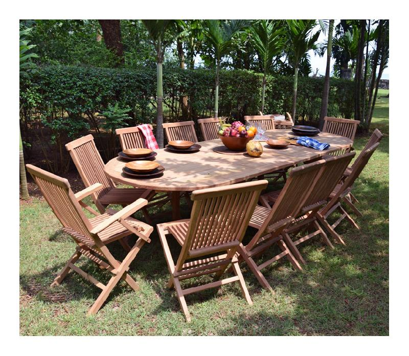 SALON DE JARDIN EN TECK ECOGRADE SAWU, TABLE PLIANTE CARRÉE 60 CM + 2  CHAISES JAVA - TECK\'ATTITUDE