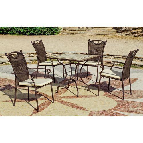 ENSEMBLE TABLE ET CHAISES DE JARDIN KAROL-VARS 808-4+4C DE 4 PLACES