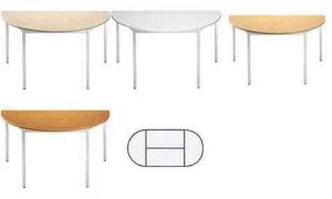 SODEMATUB TABLE DE RÉUNION 126DRMA, DEMI-ROND, MERISIER/ALU