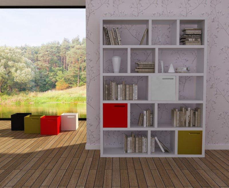 berlin bibliotheque blanche matte 5 niveaux avec 3 boites de rangements. Black Bedroom Furniture Sets. Home Design Ideas