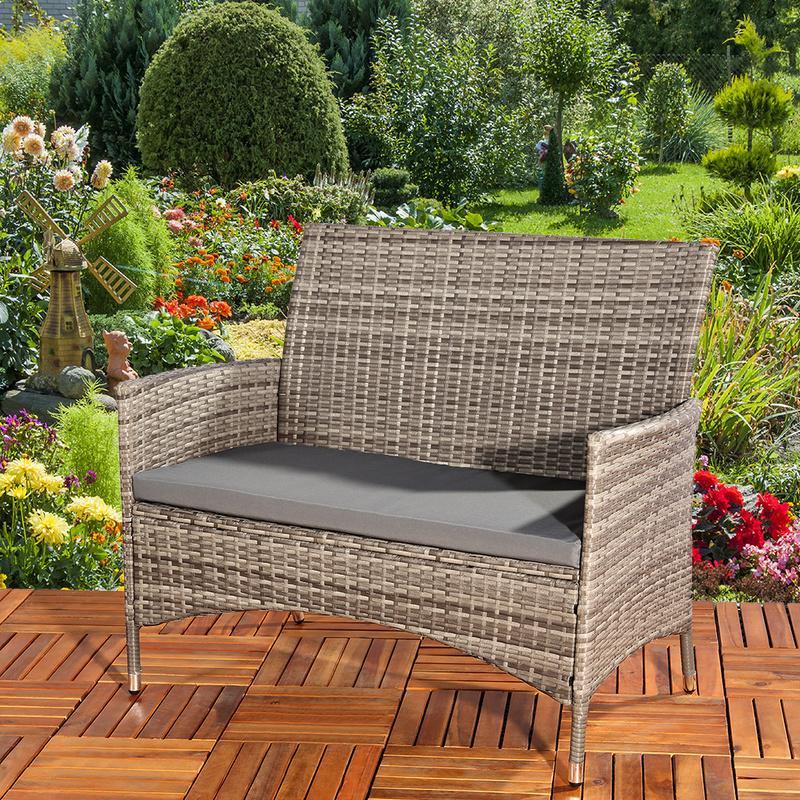 banc de jardin en rotin avec coussin firenze zoopet comparer les prix de banc de jardin en. Black Bedroom Furniture Sets. Home Design Ideas