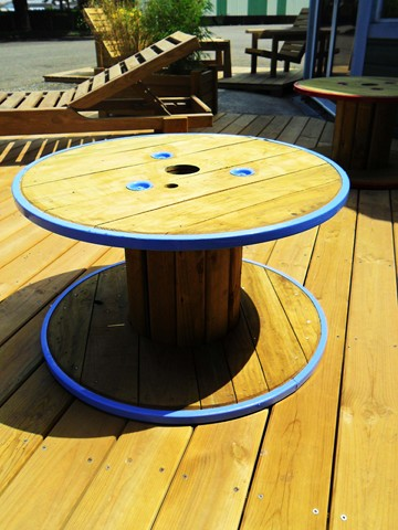 Bobine table basse de jardin - Table basse bobine bois ...