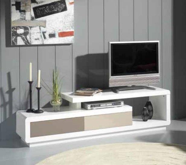 Meuble tv seville blanc, 2 tiroirs creme et taupe