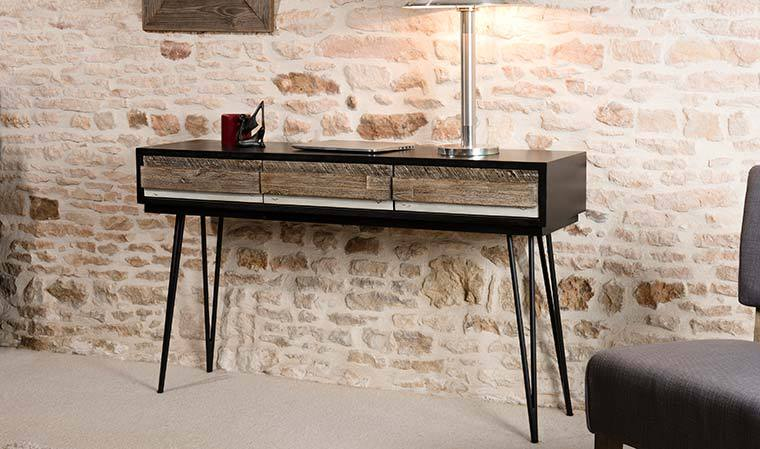 petits meubles de chambre console vintage en bois massif et metal marin. Black Bedroom Furniture Sets. Home Design Ideas