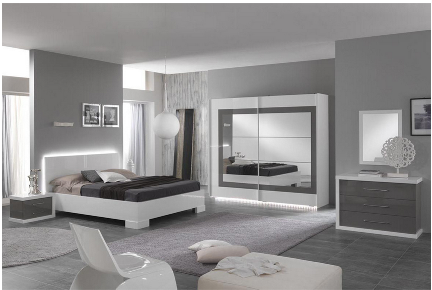 Chambre a coucher complete coloris blanc et gris laque for Chambre adulte complete blanc laque