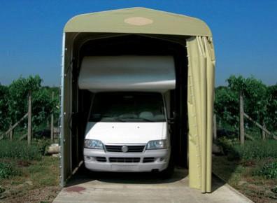 Abri camping-car semi-fermé pvc pliant / structure en aluminium / toiture à deux pans en toile