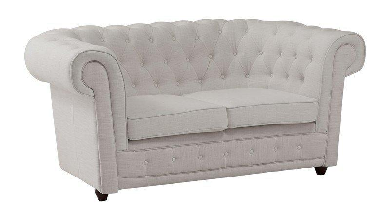 canape chesterfield deluxe 2 places en lin blanc capitonne. Black Bedroom Furniture Sets. Home Design Ideas
