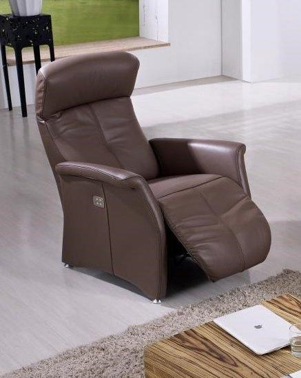 kingston fauteuil relax electrique sans fil cuir vachette marron. Black Bedroom Furniture Sets. Home Design Ideas