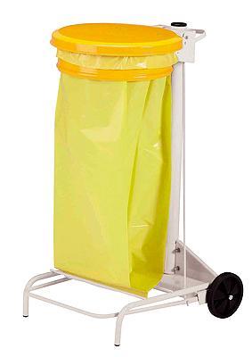support sac poubelle rossignol roulant couvercle jaune. Black Bedroom Furniture Sets. Home Design Ideas
