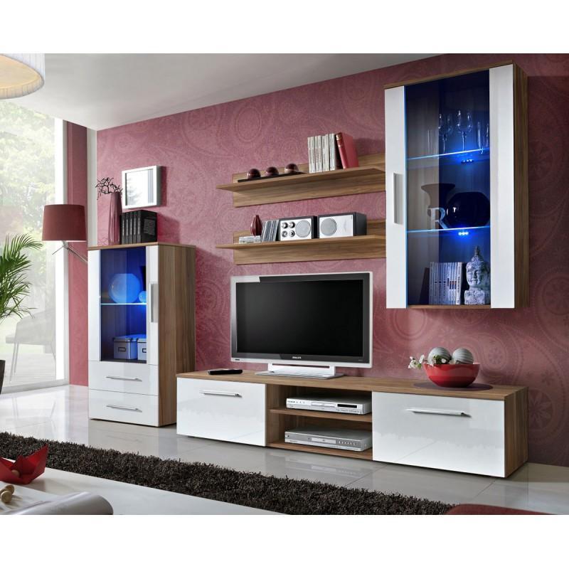 MEUBLE TV DESIGN GALINO X 250CM PRUNIER & BLANC - PARIS PRIX