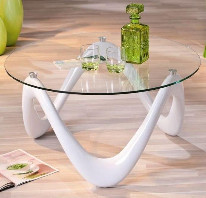 Table Basse Design Valentine En Verre Et Pietement Laque Blanche