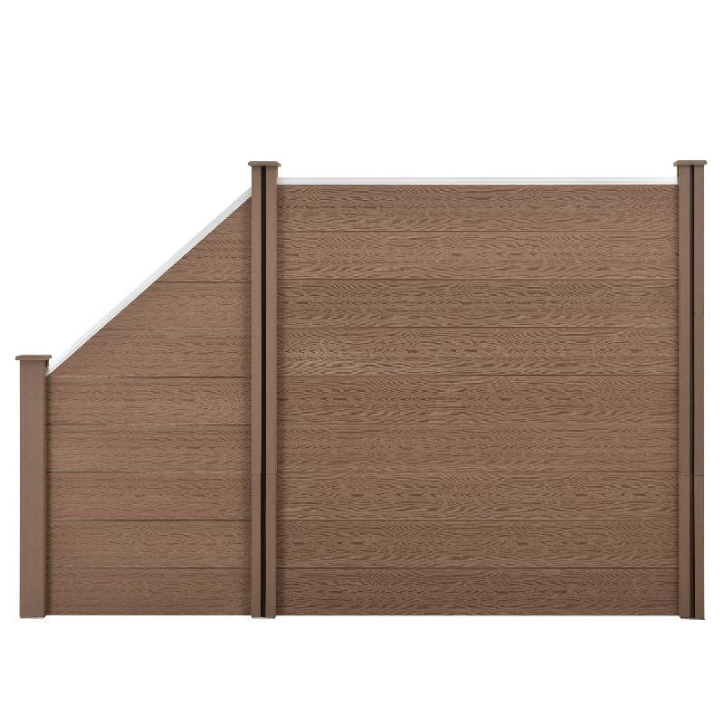 Clôture brise vue brise vent bois composite (wpc) quadratique et oblique brun 183 x 277 cm 03_0001453