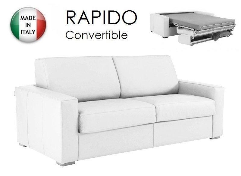 canape convertible ouverture rapido 140cm dreamer cuir vachette blanc couchage quotidien. Black Bedroom Furniture Sets. Home Design Ideas