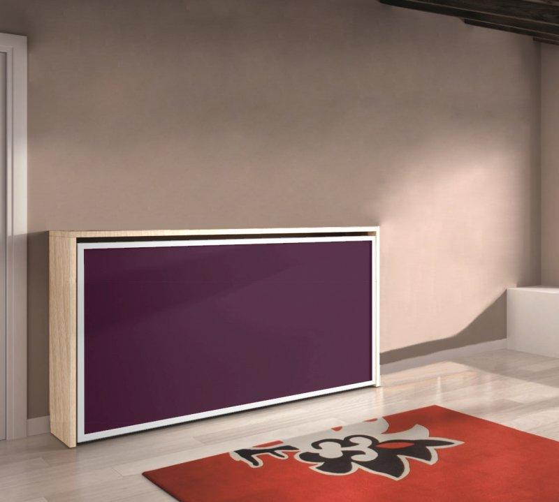 armoire lit transversale city hetre clair et couleur aubergine couchage 90 22 190 cm. Black Bedroom Furniture Sets. Home Design Ideas
