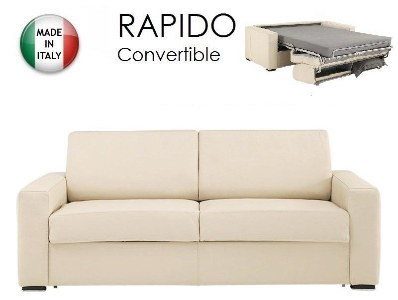 piece unique canape convertible rapido 120cm dreamer cuir eco beige couchage quotidien. Black Bedroom Furniture Sets. Home Design Ideas