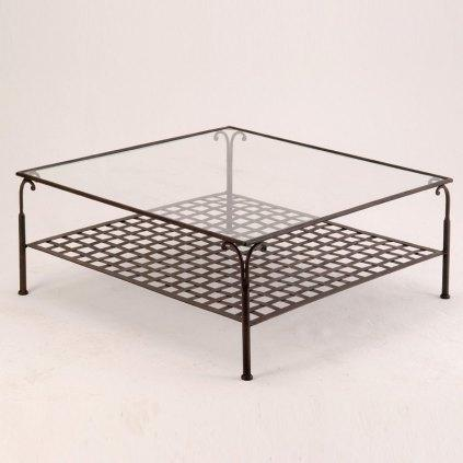 Table basse en fer forge carree ou rectangulaire - Table basse carree bois et fer forge ...