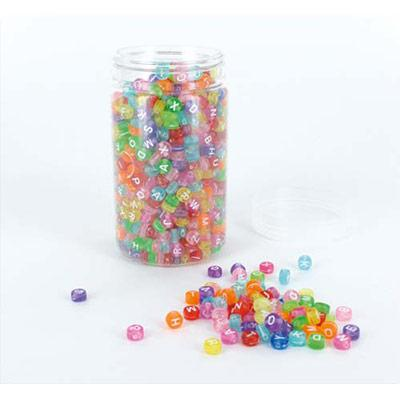 BOCAL DE 1200 PERLES ALPHABET TRANSPARENTES COULEURS ASSORTIES - DIAMÈTRE 7 MM