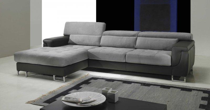 duplex canape d 39 angle gauche cuir et microfibre gris. Black Bedroom Furniture Sets. Home Design Ideas