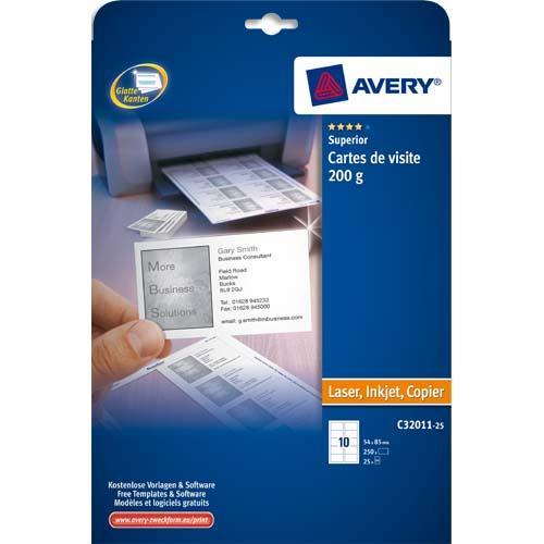 Avery pochette de 250 cartes de visite (85x54 mm) 200g coins droits laser & jet d'encre finition mate