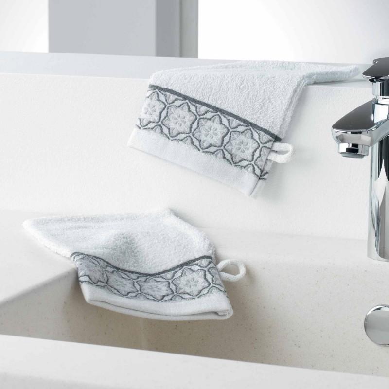 Lot de 2 gants de toilette adelie 15x21cm blanc - paris prix