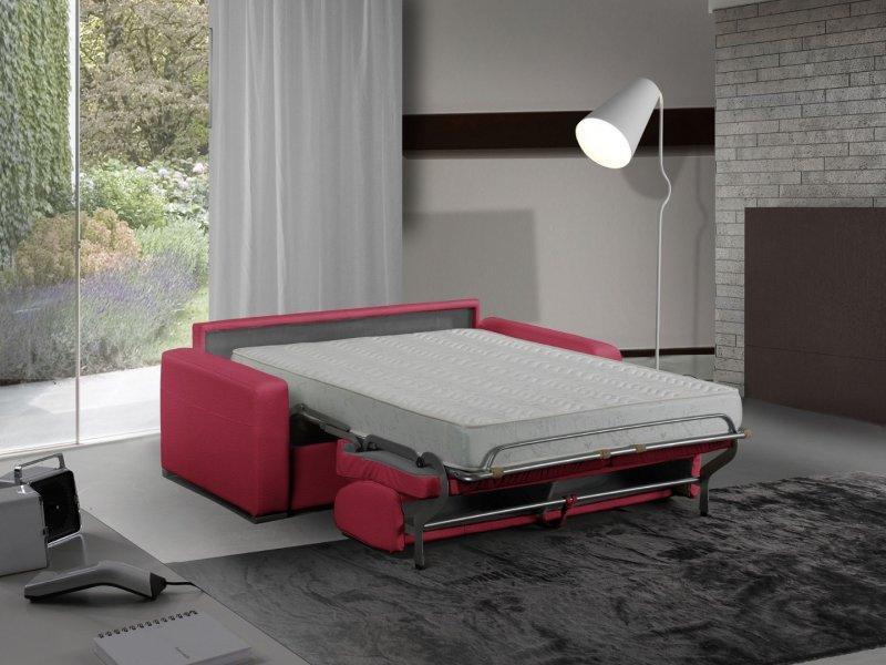 canape lit 3 places master convertible ouverture rapido 140 cm cuir eco rouge matelas 18 cm inclus. Black Bedroom Furniture Sets. Home Design Ideas